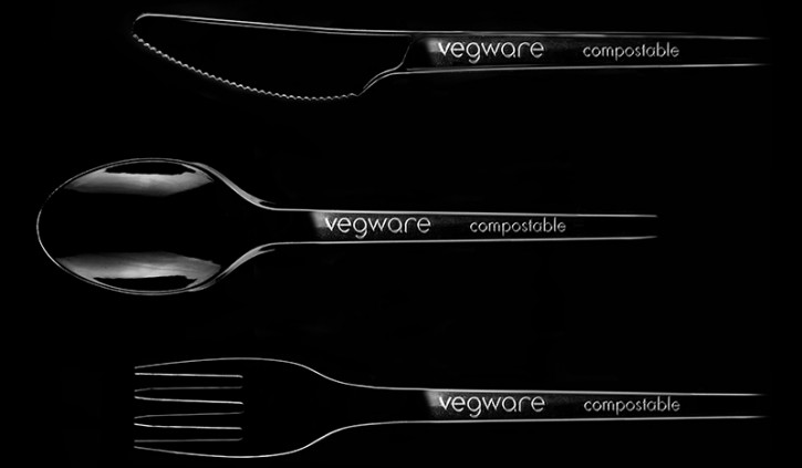 Vegware black cutlery recycled eco compostable heat