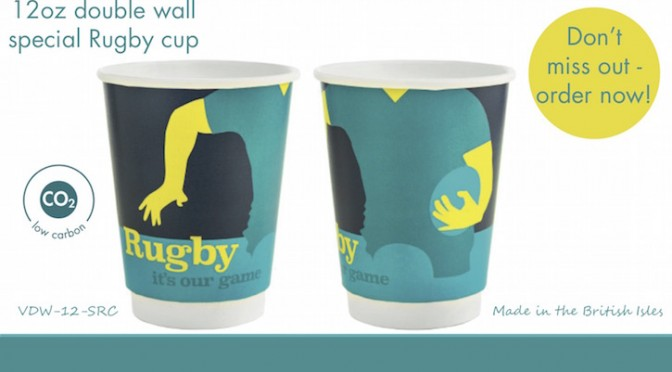 Vegware low carbon rugby cup is available now for pre-order - rugby player in action design