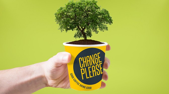 Big Issue Change Please Vegware compostable cup coffee