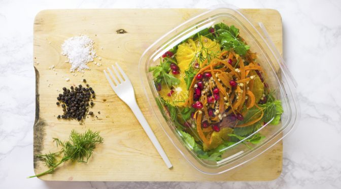 Vegware eco packaging deli container deliciously ella