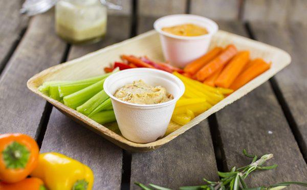 vegware bagasse portion pot hummus crudités compostable packaging