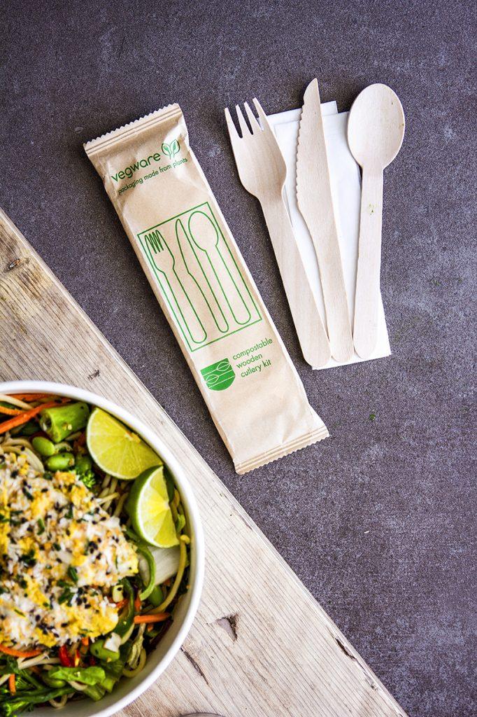 Wrapped cutlery kit Vegware wooden