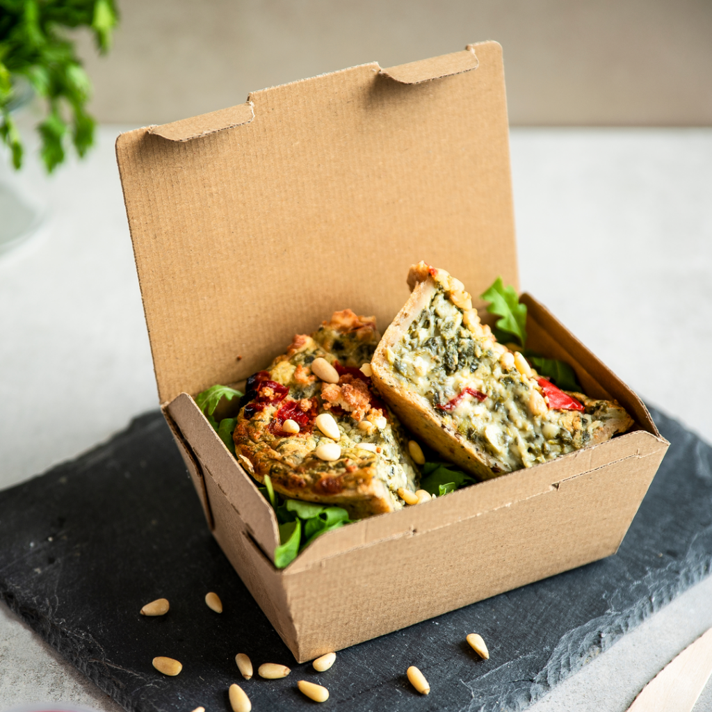 Vegware microflute hot box carton container disposable eco fluted corrugate compostable food